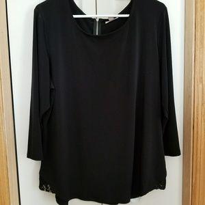 Dress Barn blouse, back quarter zip, 2X